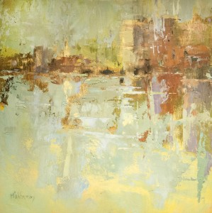 JAN MCELHINNY, City in Reflection, Oil on board, 9 X 9 inches, $900