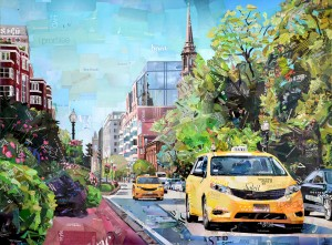 BETSY SILVERMAN, Two Taxis, Recycled paper collage, 36 x 48 inches, $3,900