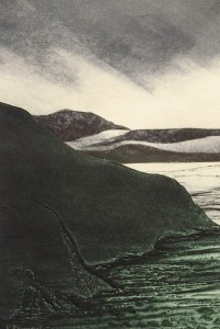 VIVIAN BERMAN, Inlet; Collagraph, collage; 13 x 9 inches; $400