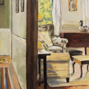CAROLYN LETVIN, Interior #34, Oil on wood panel, 12 x 12 inches, $575