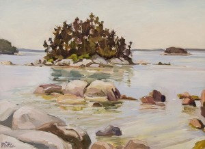 JILL POTTLE, View from Sand Beach, Stonington, ME; Oil on board; 14 x 19.5 inches; $950