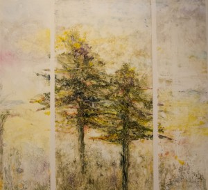 ANITA HELEN COHEN, Pines Triptych	 Watercolor on Yupo, 31 x 33 inches, $975