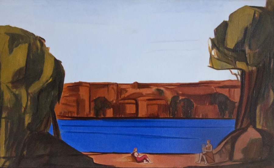 MORGAN CHICKERING, Figures in Landscape by River IV Oil on canvas; Oil on canvas; 26 x 43 inches; $2,000