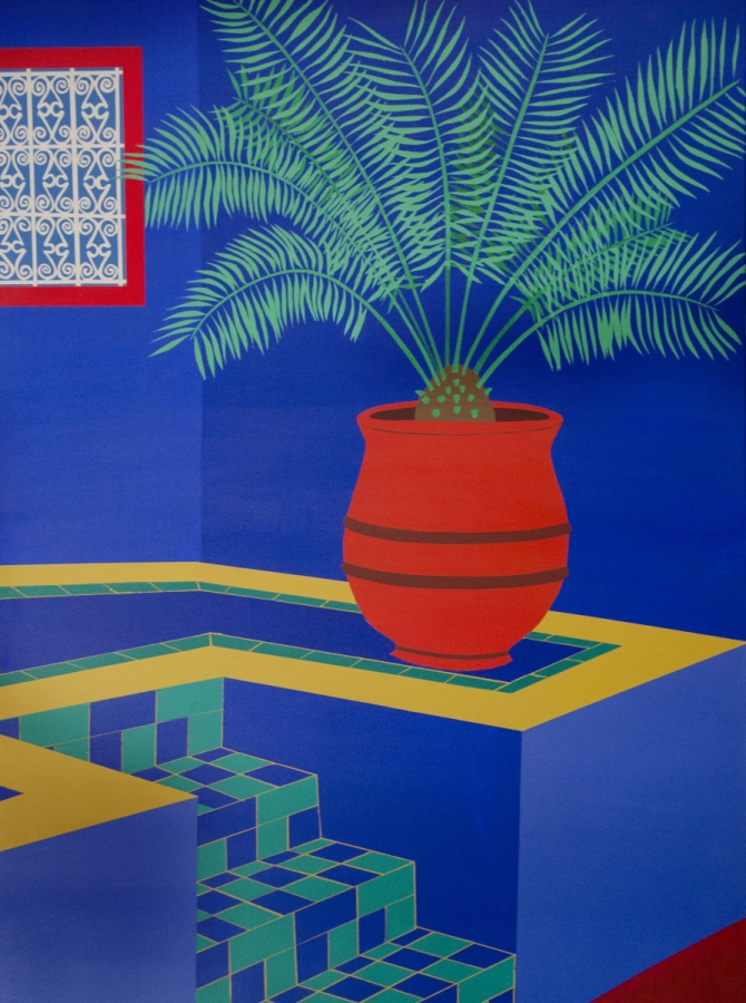 BRAHIM BOUIRBDANE. Inside the Blue House Acrylic on canvas; 40 x 30 inches; $1,100