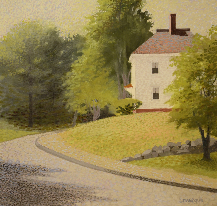 PRISCILLA LEVESQUE, Around the Bend on Westford Road, Casein, 17 x 18 inches, $475