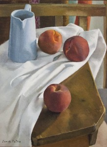 DORON PUTKA, Bench with Peaches I, Oil on linen, 17.5 x 13.5 inches, $1750