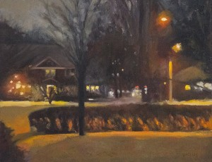 GENE MACKLES, Snowy Night, Oil on canvas, 16 x 20 inches, $1200
