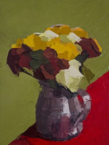 KELLY HARWOOD, Chrysanthemums, Oil on panel, 12 x 9 inches, $800