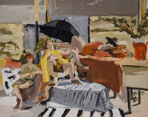 JEANNE SOBELL PASTORE, Lazy Summer in the Studio, Acrylic gouache on panel, 16 x 20 inches, $1200