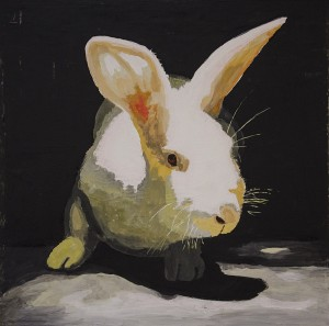 AMY GOODWIN, Rabbit Brite; Oil, acrylic on canvas; 36 x 36 inches, $3600
