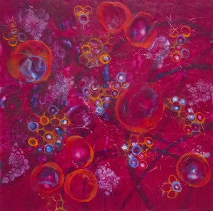 KAY HARTUNG, Bio Layers 1; Encaustic, pastel, pigment stick; 24 x 24 inches; $1500