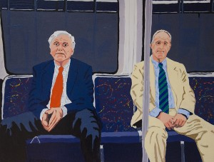 PETER MCGOWAN, Two Old Guys on the T, Enamel on plywood, 30 x 39 inches, $500