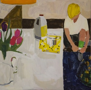 NANCY GRUSKIN, Tuesday Night Practice, Acrylic on panel, 24 x 24 inches, $1200