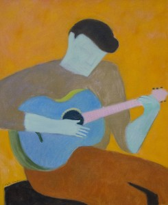 KATE HANLON, The Blue Guitar, Oil on canvas, 24 x 20 inches, $2100