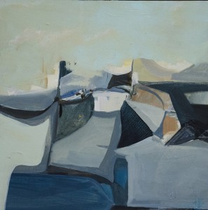 HANNAH BUREAU, Jetty, Oil and oil pencil on panel, 10 x 10 inches, $700