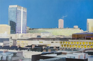 ANNA HERRICK, Administrative Centre, Brussels; Acrylic, tissue paper, colored pencil, 24 x 36 inches, $5,000