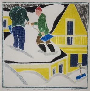 KATE HANLON, Roof Shovelers, White-line woodcut, 12 x 12 inches, $850
