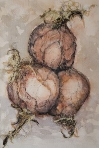 ANNE BRIGGS, Threesome; Watercolor, ink, paper; 9.5 x 6.5 inches, $450
