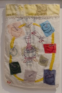 YOUNG KIM SHIN, All They Did Eat, Were Filled; Mixed media on rice bag; 8 x 12 inches; $1,200