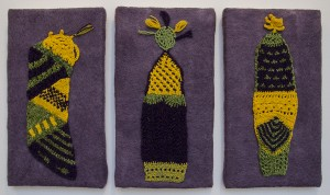 SUSAN TORNHEIM, After I Got Tired of Knitting Hats; Fiber: (knit, crocheted, felted; 16 x 28 inches; $500 (triptych)