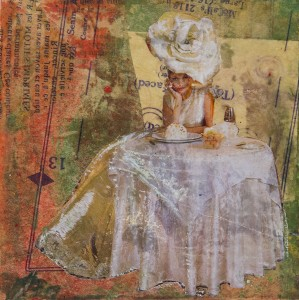SIRARPI HEGHINIAN-WALZER, Marie, Mixed media with encaustic; 7 x 7 inches, $450