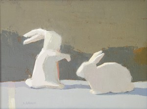 SUSAN AHEARN, The Rabbit's Tale, Oil on canvas; 9 x 12 inches, $850