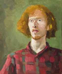 DORON PUTKA, Boy With a Red Shirt, Oil on canvas; 17 x 4 inches, $2,800
