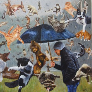 BARNEY LEVITT, Raining Cats and Dogs Oil on canvas; 30 x 30 inches $6,500