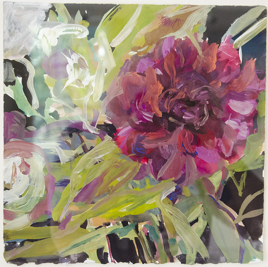 ROZ SOMMER, Red Peony, Gouache on paper; 10 x 10 inches, $450