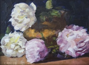 ElLLEN HURLEY, Peonies and Copper, Oil on linen panel; 9 x 12 inches, $400