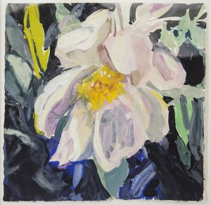 ROZ SOMMER, Shell Peony in the Garden, Gouache on paper; 10 x 10 inches, $450