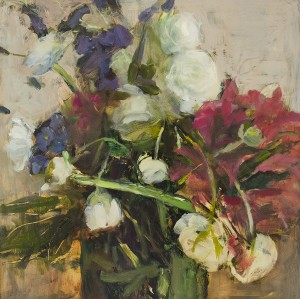 LENA SIROTA, Bouquet, Oil on board; 24 x 24 inches, $2,000