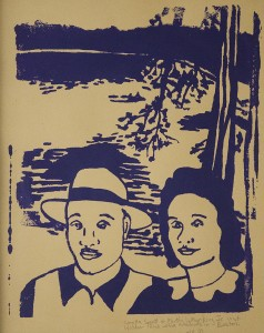 Jennifer Ingram Coretta Scott & Martin Luther King Jr. Visit Walden Pond While Students in Boston Silkscreen; 16 x 14 inches $90