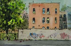 Anthony Riccardi City Graffiti Watercolor; 15 x 22 inches $1,500