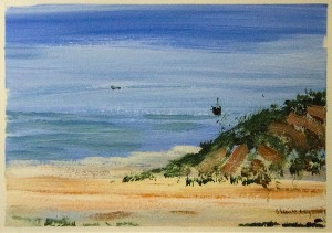 Brenda Steinberg Fishing Boat Near Shore Acrylic on paper; 7 x 5 inches $320