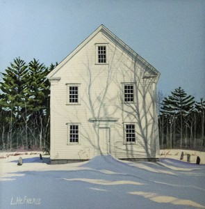 Linda Hefner The First Normal School in New Hampshire in Effingham (December) Acrylic on board; 11 x 11 inches $1,100