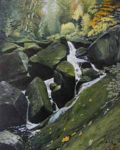 JOHN F. QUIMBY, Wild River Basin Flows, Oil on archival board; 30 x 24 inches, $3,000