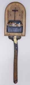LORRAINE SULLIVAN, Feed Your Head, Assemblage using found objects; 47 x 12 inches, $3,000