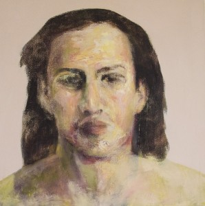 GEORGE HERMAN, Person, Oil, mixed mediums on canvas; 30 x 30 inches, $2,400