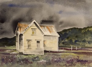 MARTY LEHMAN, This Old House Watercolor; 11 x 14 inches, $600
