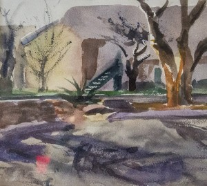 RUTH HENNING, Sunday in Midland, Watercolor; 9.75 x 11 inches, $200