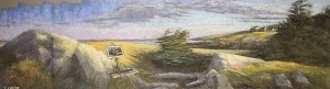 LARRY GROB, Painting a Monhegan Sunrise, Pastel on sanded paper; 9 x 27 inches, $1,900