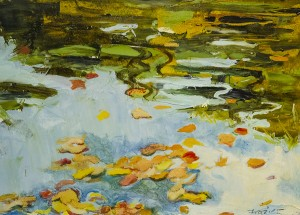 GILLIAN FRAZIER Fall Lily Pond Reflection Oil on paper; 12 x 15 inches