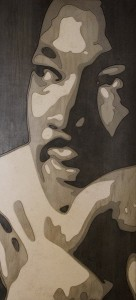 BILLY CROSBY, MLK 1/100,000,000 Latex acrylic on cut Komatex 47 x 22.25 inches