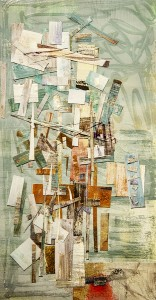 Karen Rothman Deconstructed Construction I Oil monotype collage; 18 x 10 inches