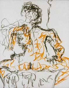 Charlene McGlame	 Seated Woman II Tombow brushes on paper 17.5 x 14 inches