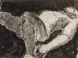 Philip Kelsey, Man Reclining Ink on paper; 18 x 24 inches