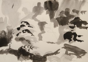 Sandys Moore, Oriental Garden I Sumi ink on paper; 10 x 14 inches