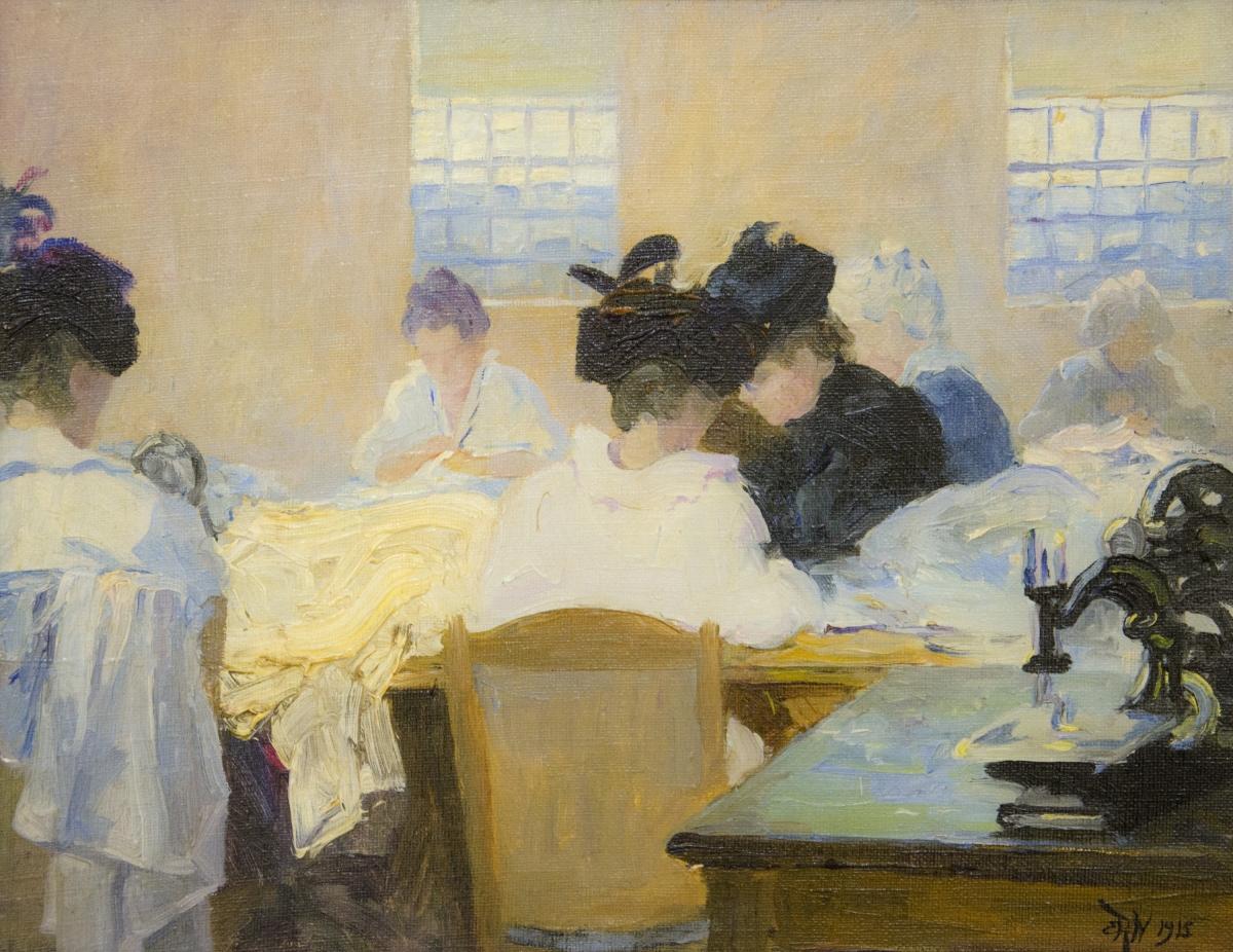 "Elizabeth Wentworth Roberts, ""Women Sewing for Belgian Refugees,""1915"