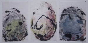 SUSAN MAXFIELD  Egg Calligraphy (Red-wing Blackbird) Ink on silk; 6 x 11.5 inches $500